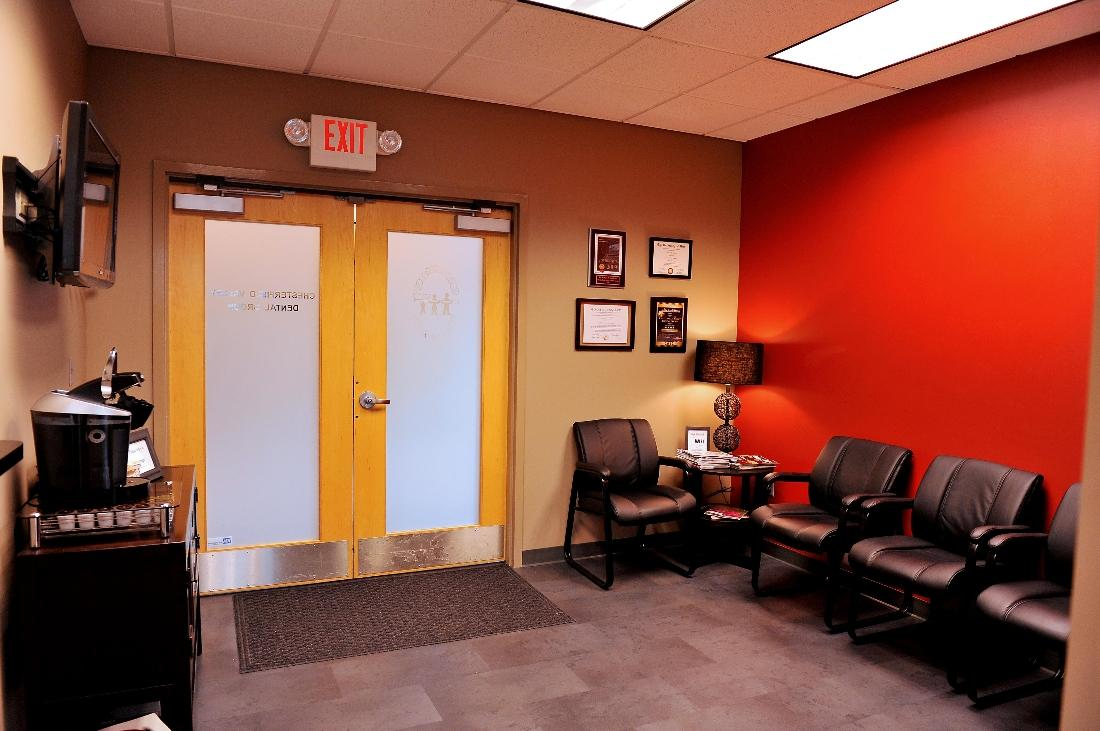Our reception area offers a complimentary beverage station (coffee, tea, hot cocoa and cider)