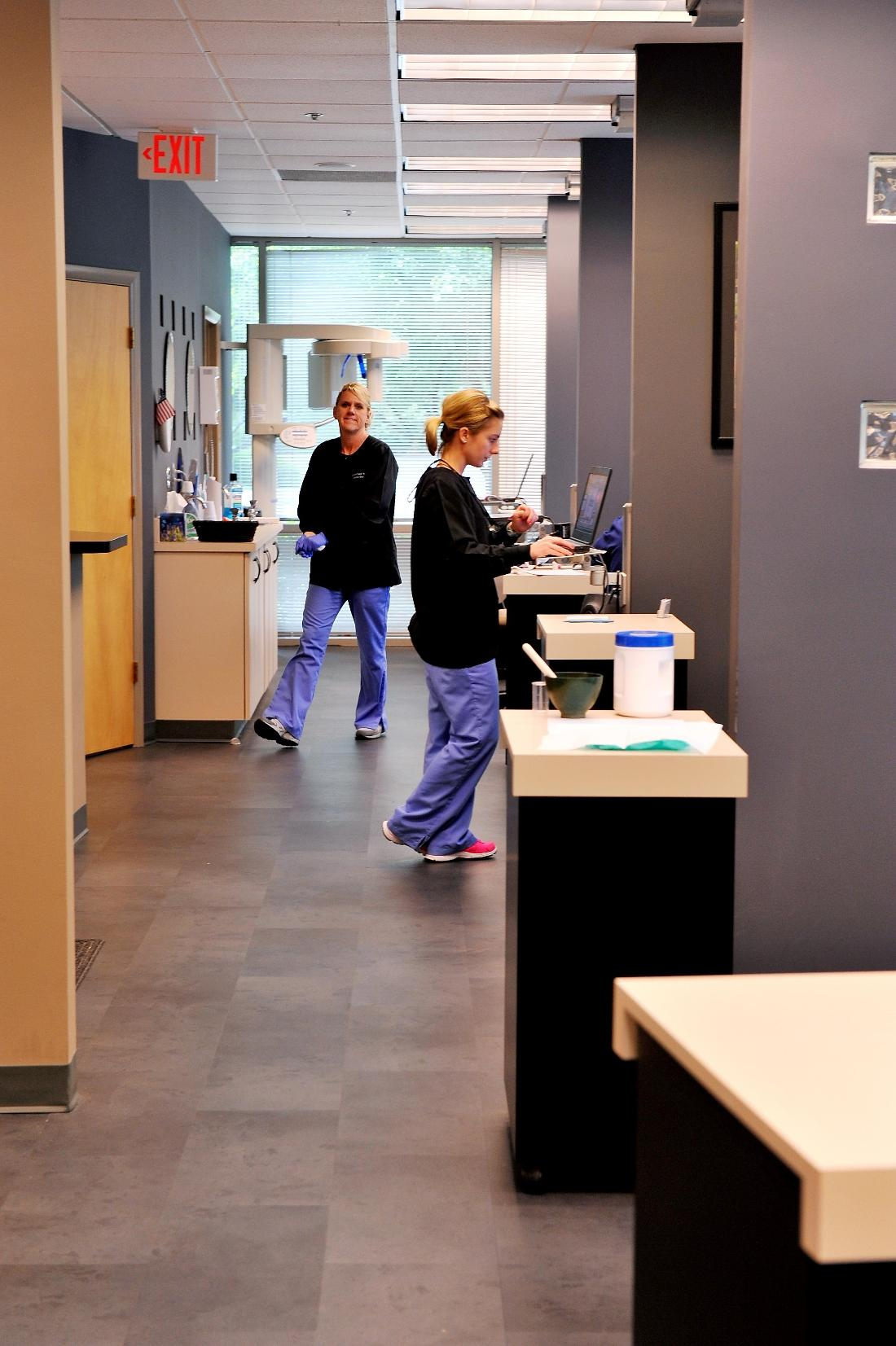 Our hygienists, busy taking care of patients
